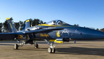 The F/A-18C Hornet, Bureau Number 163439, of the U.S. Navy Blue Angels, makes its last stop as it joins the National Air and Space Museum's collection.