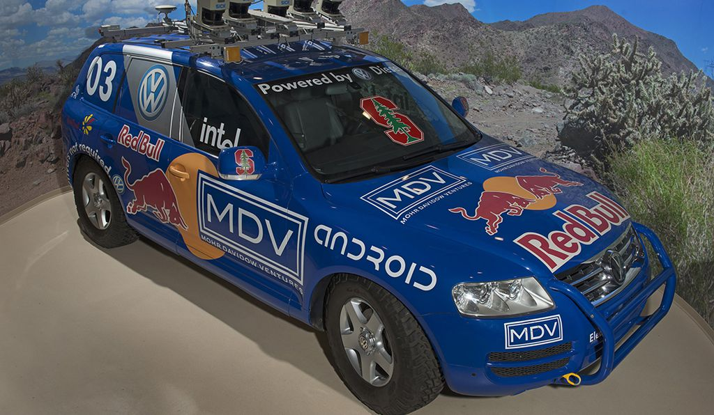 Stanley, an autonomous vehicle that won the 2005 DARPA Grand Challenge, is on view in the