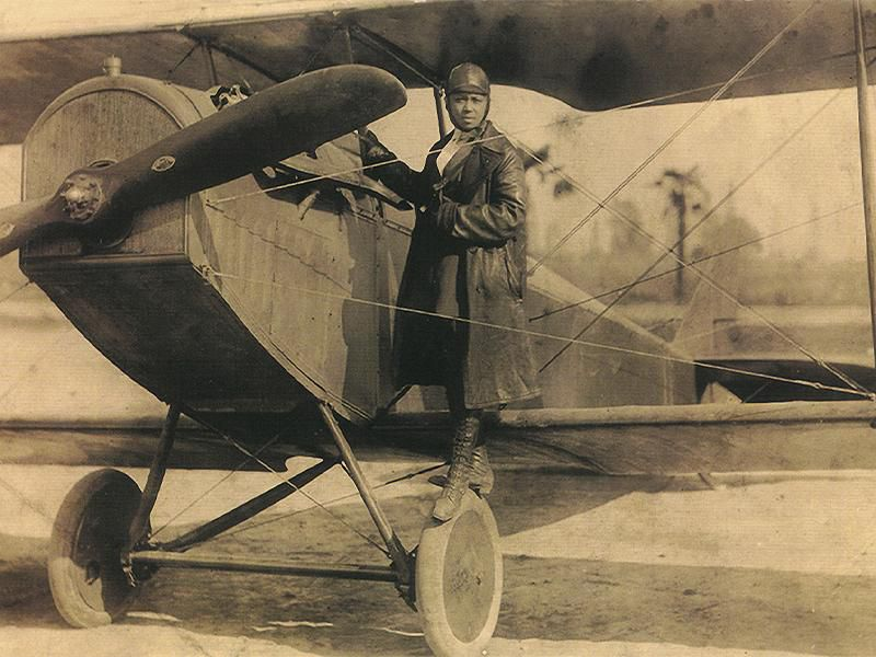 Bessie Coleman, the first African American to earn a pilot's license.