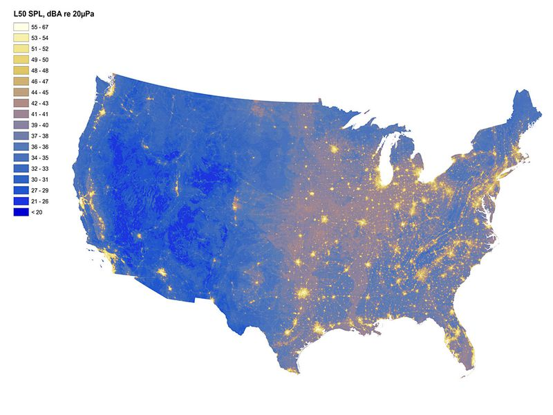 National Park Service Map Of Loud And Quiet Areas In The United States Yellow Areas Represent Loud Areas While Blue Represents Quiet Nps