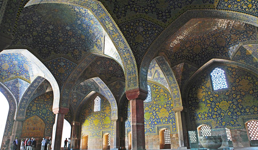 Imam Mosque, Iran. Almost half a million colored ceramic tiles cover the Imam Mosque.