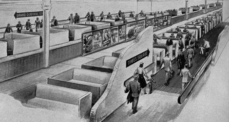 The New York subway system's moving sidewalk of the future by Goodyear (1950s)