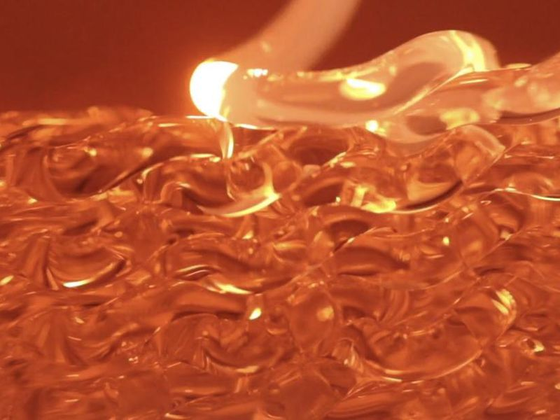 3D printed molten glass