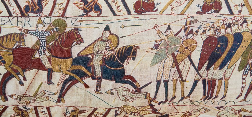 Section of the famous Bayeux Tapestry, a visual chronicle of the Norman conquest of 1066