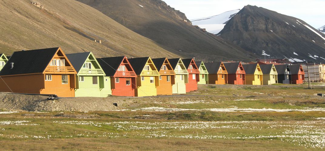 Colorful houses in Svalbard's Longyearbyen