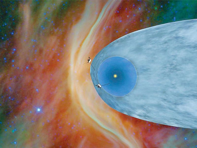 illustration of Voyager spacecraft going into interstellar space