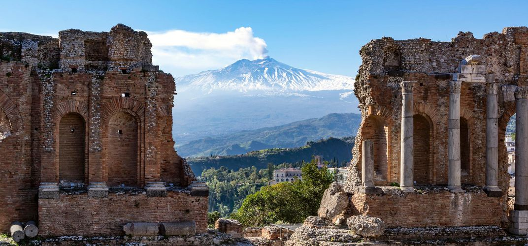 View of Mt. Etna from the Greek Theater, Taormina