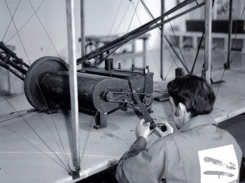 Wright Flyer undergoing restoration 1984-1985.jpg