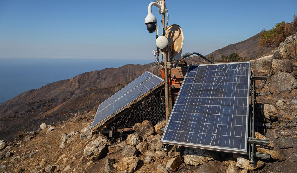 Solar panels generate electricity for the live-stream webcam showing condor activity.