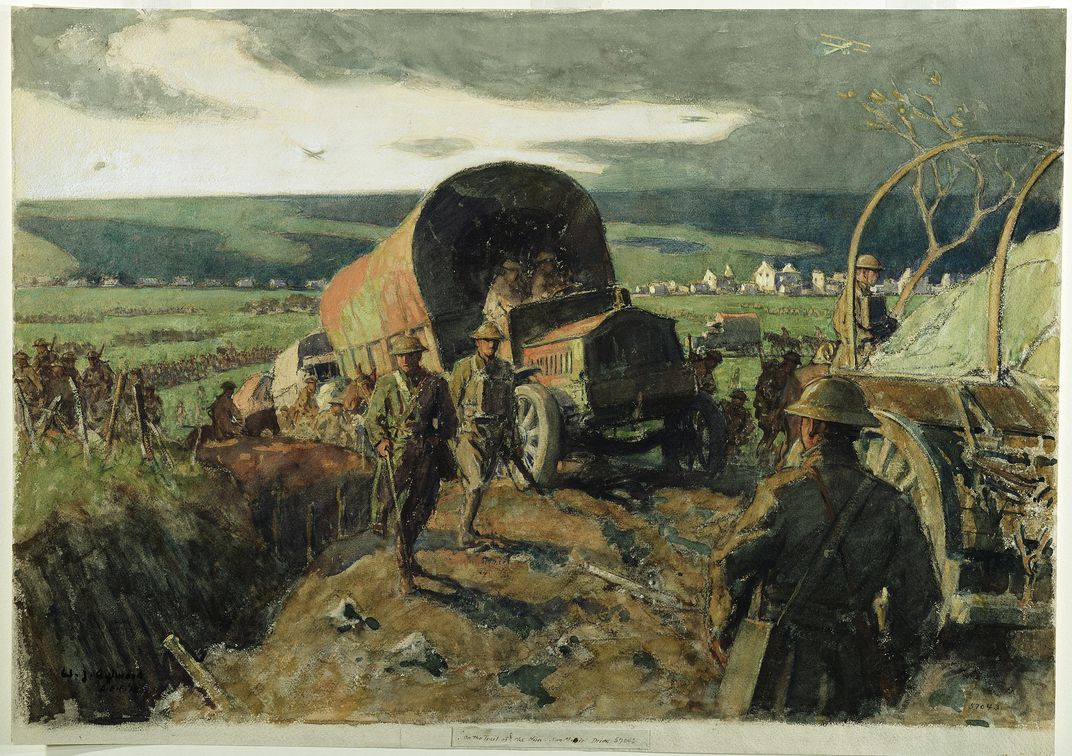 History of watercolor art - William James Aylward One Of Eight Artists Commissioned By The U S War Department Painted On The Trail Of The Hun St Mihiel Drive In 1918