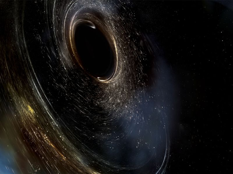 Artist's conception of two merging black holes, spinning in a nonaligned fashion.