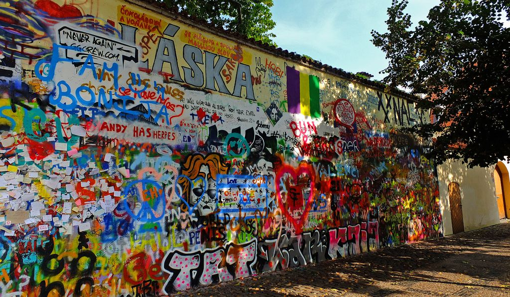 A photo of the Lennon Wall taken on October 6, 2014.