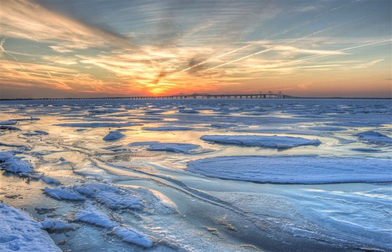 Icy water in the Chesapeake Bay at sunset