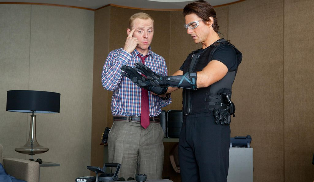 Pegg with Tom Cruise in 2011's <em>Mission: Impossible — Ghost Protocol,</em> another big-screen adaptation of a TV show from 1966. Like <em>Star Trek Beyond,</em> the spy adventure was partially shot in Dubai.