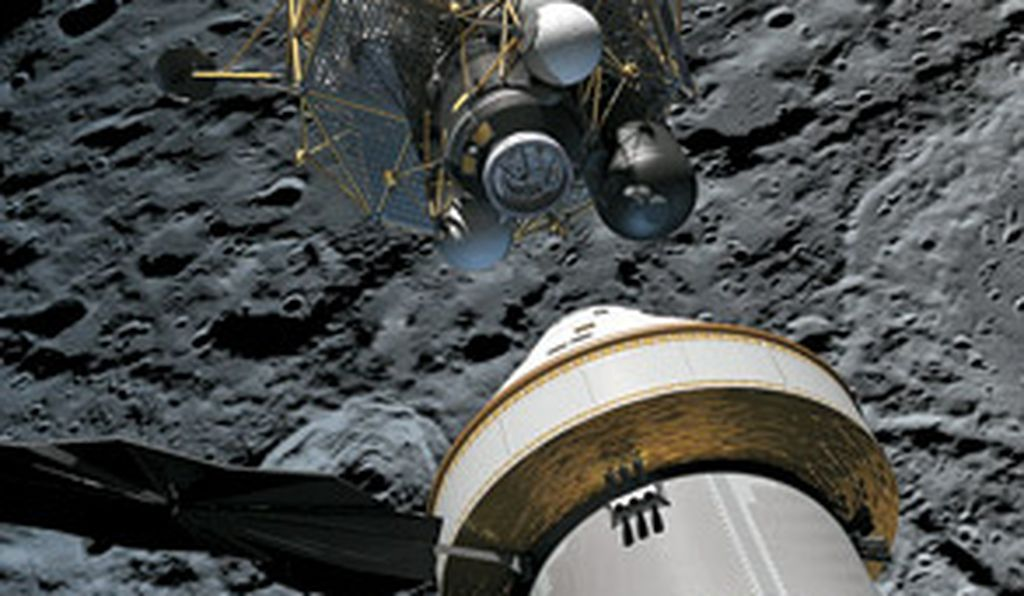 The next generation of NASA spacecraft (artist rendering) will carry more people and supplies than the Apollo missions.