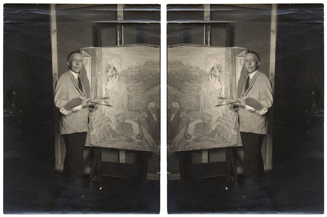 Henry Tanner in his studio next to his painting Juda and the same image in reverse.