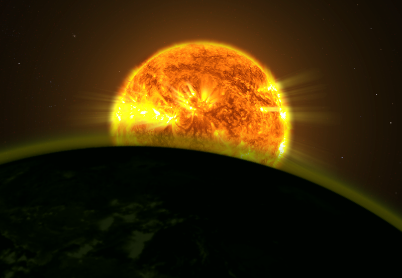 This illustration shows a star's light illuminating the atmosphere of a planet.