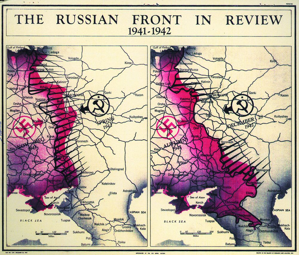 The cia is celebrating its cartography divisions 75th anniversary the russian front of world war ii as of 1942 cia gumiabroncs Images