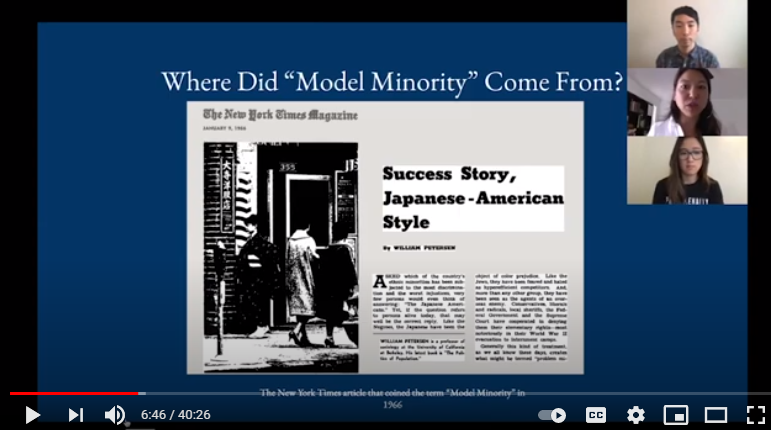 """Still image of a webinar presentation with three presenters and a slide reading """"Where did Model Minority come from?"""""""