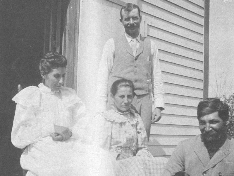 3a5d32496 Susan, far left, with her husband (seated with puppy) at their Bancroft,  Nebraska, home. (Courtesy of the Hampton University Archives.)