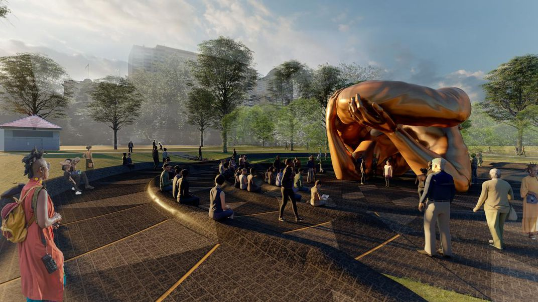 A rendering of the sculpture, with large arms bent at elbows embracing another set of arms, all in a shiny bronze; sculpture surrounded by people
