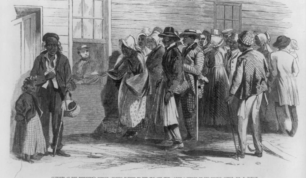 African-Americans gathered outside the Freedmen's Bureau in Richmond, Virginia, 1866