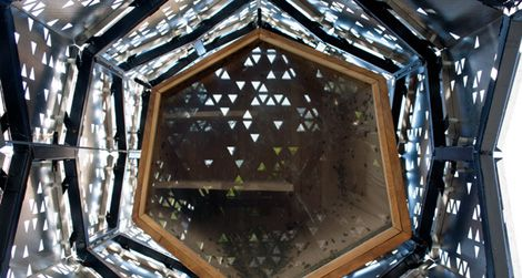Looking up into a skyscraper for bees, designed by students at the University of Buffalo