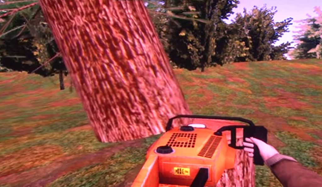 A screen shot of the virtual reality environment used in the tree-cutting study at Stanford University.