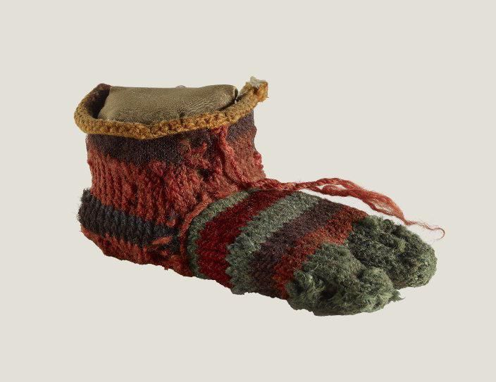 Two-toed, striped Egyptian sock. Image courtesy of the British Museum.