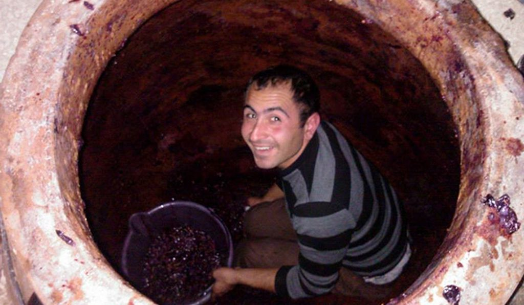 Alik Avetisyan crouches inside a 260-gallon karas, filling it with newly harvested grapes.