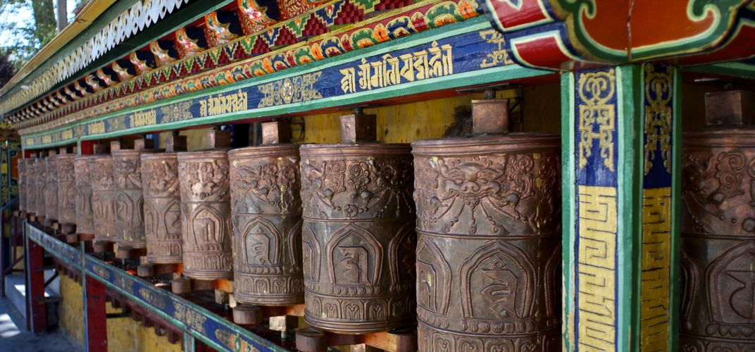 Prayer wheels at Lhasa's Potala Palace