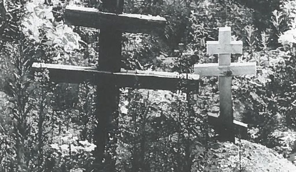 The Lykovs' graves. Today only Agafia survives of the family of six, living alone in the taiga.