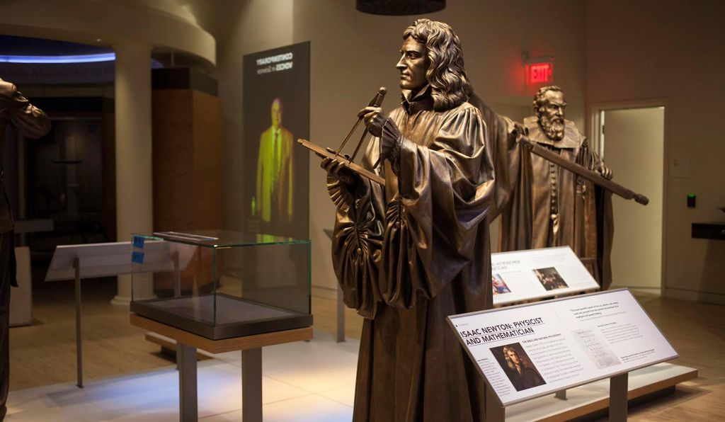 Sculptures of Isaac Newton and Galileo Galilei on display in the