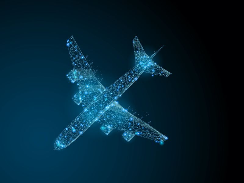connected blue dots outlining a plane