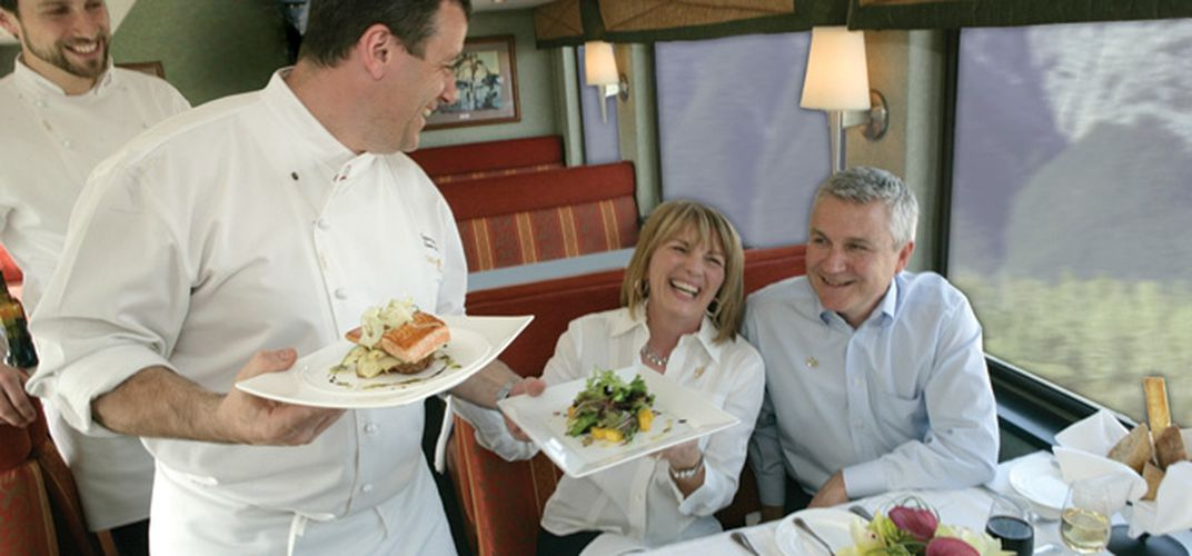 Dining aboard the <i>Rocky Mountaineer</i>