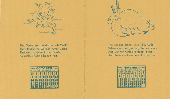 Calendar with verses by William Adams Delano and illustrations by Tina Safranski, 1945. Arthur Sinclair Covey papers, 1882-1960. Archives of American Art, Smithsonian Institution.