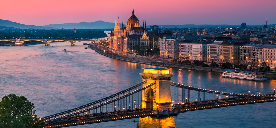 The Parliament Building and Chain Bridge in Budapest, Hungary