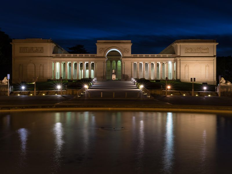 Legion of Honor, one of San Francisco's fine arts museums, at night in January 2017