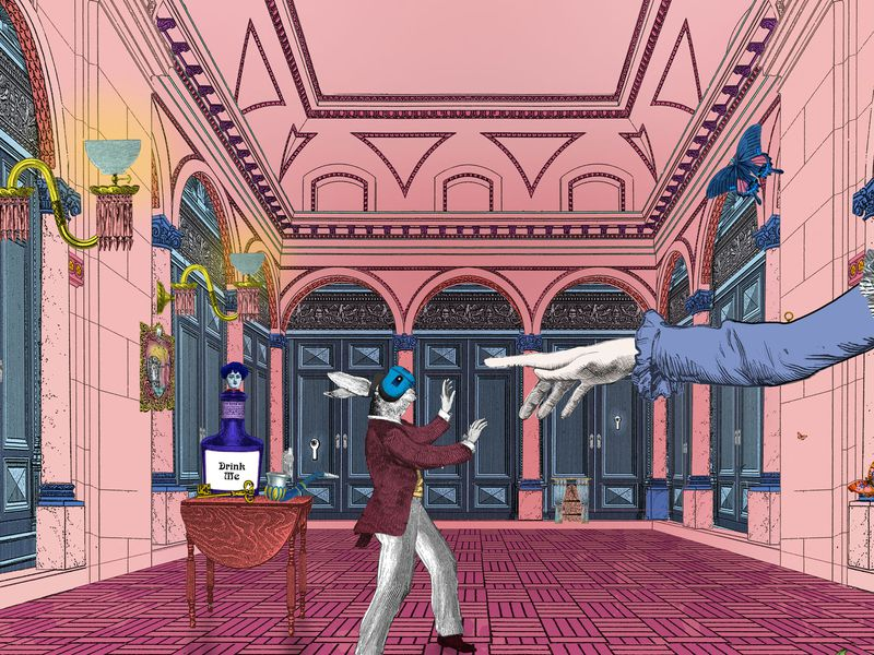 A white rabbit in a maroon topcoat wanders with hands oustretched in an ornate pink hall, wearing a VR headset; behind the rabbit, a table with a potion labeled DRINK ME; nearby, a large disembodied outstretched hand points at the rabbit