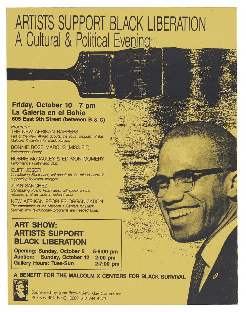 Flyer with text and graphics of a paintbrush making paint marks, and Malcolm X, printed with black ink on brightyellow paper.
