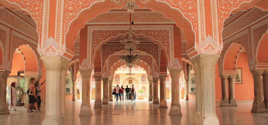The courtyard of the City Palace Museum in Jaipur