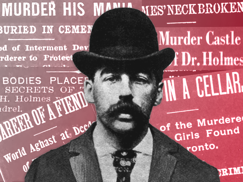 Illustration of H.H. Holmes in front of newspaper headlines