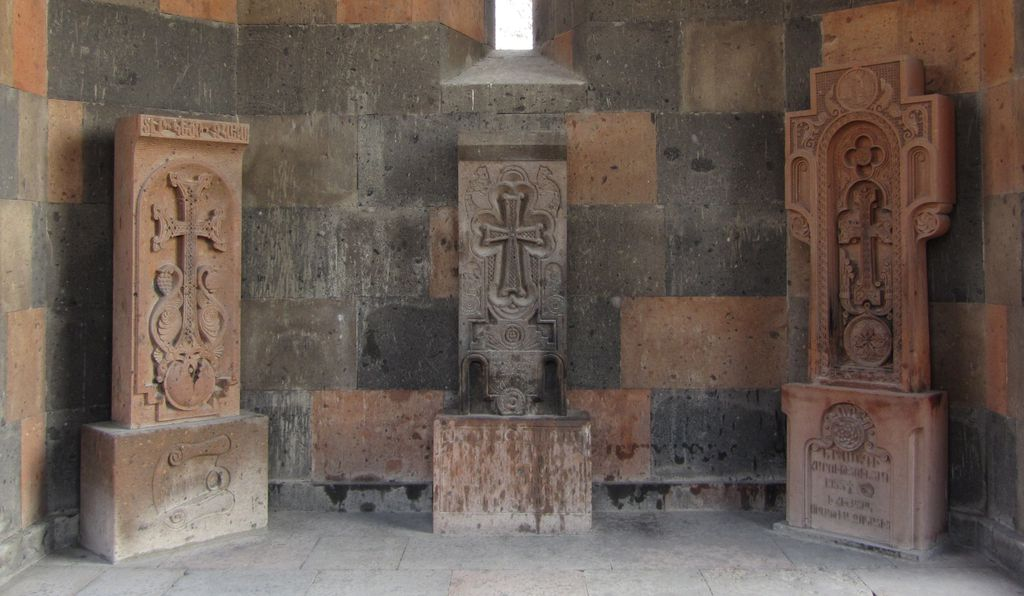 Armenian khachkars, or cross-stones, often feature imagery evocative of branches, leaves and fruit.