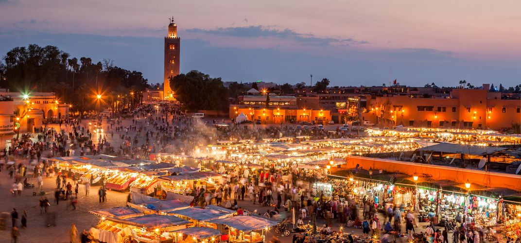 Djemaa El Fna at dusk, Marrakech