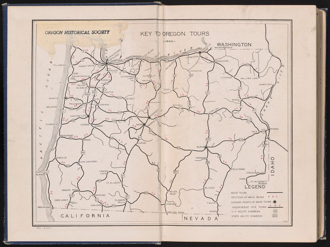 pull-out map of WPA Guide to Oregon