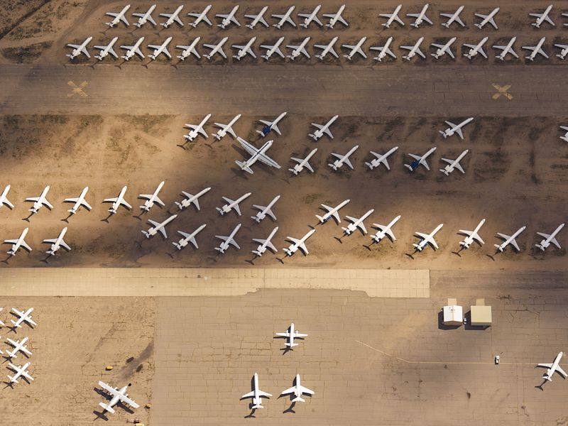 Retired planes parked in the dry Arizona desert (at Kingman Airport).