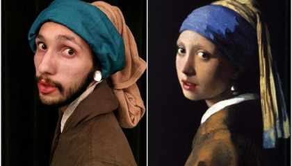 These Two Guys Recreate Famous Paintings Using Only Office Supplies and a Phone