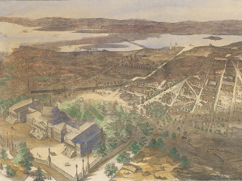 1861aerial view of Washington, D.C.