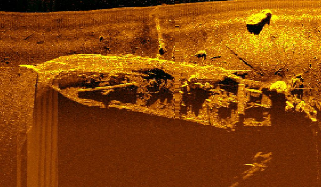 A scan of the wreck of the <em>Figaro</em> in Svalbard, taken by Øyvind Ødegård with a submersible research robot.  The cold waters of the Arctic act as a preservative, so this 100-year-old ship is in relatively good condition. However, the <em>Figaro</em> also shows limited evidence of shipworms.