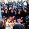 A group of Iranian women, wearing the chodor hijab, in the Mourning of Muharram Shia Islam event.